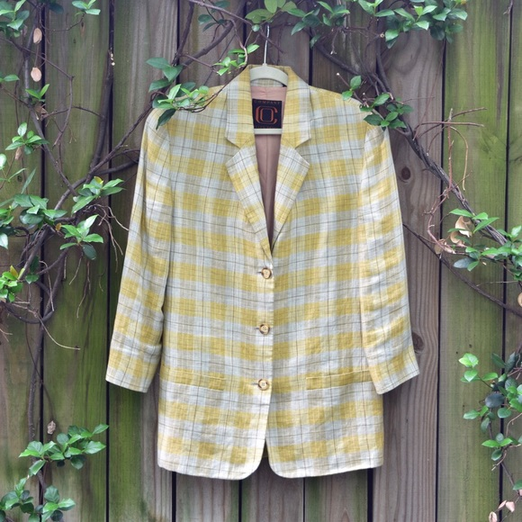 Ellen Tracy Jackets & Blazers - VINTAGE 80s yellow and creme oversized jacket!